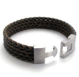 Braided Leather Bracelet-Color Brown