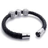 Genuine Black Braided Leather Bracelet with Stainless Steel and Pave Beads