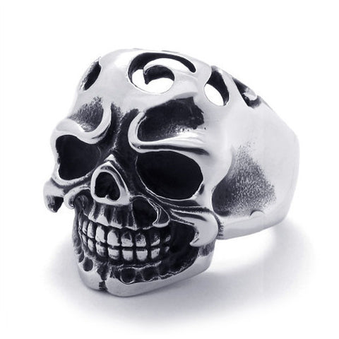 Hard Core Skull Ring Made of 316L Titanium Steel for Men's Jewelers Fashion