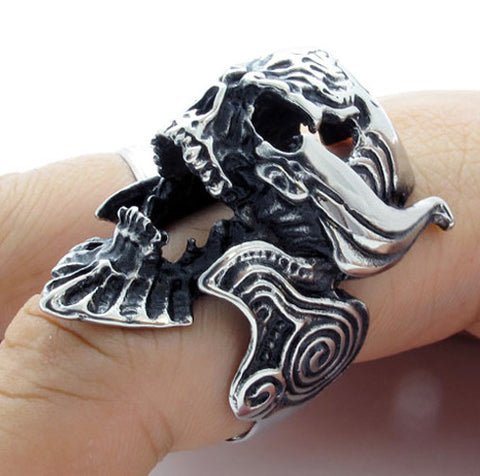 316L Titanium Steel Men's Warcraft Skull Rings for Guy's Fashion