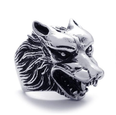 316L Titanium Steel Wolf Head Ring for Men's Hipster Jewelry Fashion