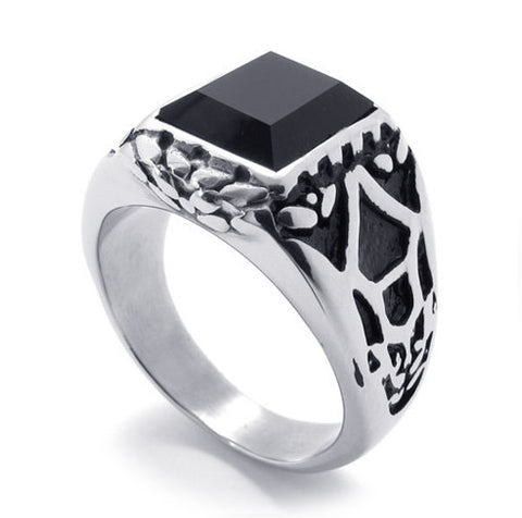 Black Gemstone Ring for Men's Fashion Jewelry 316L Titanium Steel