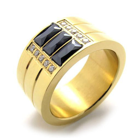 316L Titanium Steel 3 Banded Ring w/ GOLD Colored Finish for Men or Women