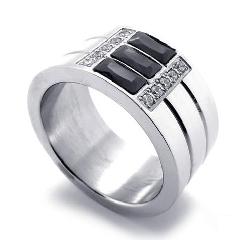 316L Titanium Steel 3 Banded Ring w/ SILVER Colored Finish for Men or Women