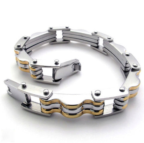 Gold or Silver Colored Titanium Steel 316L Men's Bracelet Jewelry-Color Gold