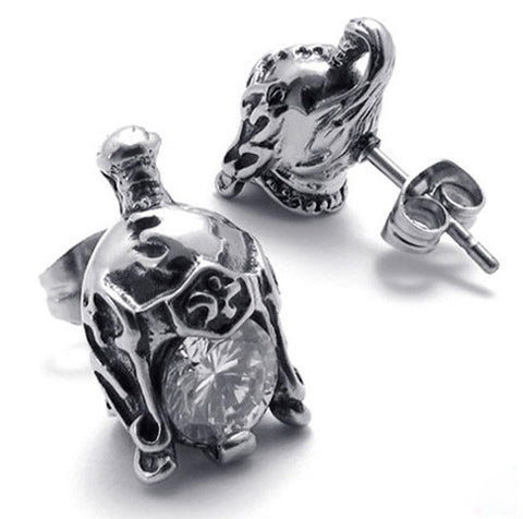 Titanium Class A Steel 316L Crystal General's Helmet Earring Set for Men's Jewelry