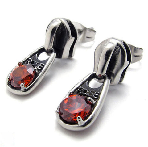 Titanium Steel Ruby Red Crystal 316L Pendant Style Earring Jewelry for Woman