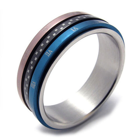 Titanium Steel Ring With Blue Band for Men & Woman's Fashion Jewelry-Size 8
