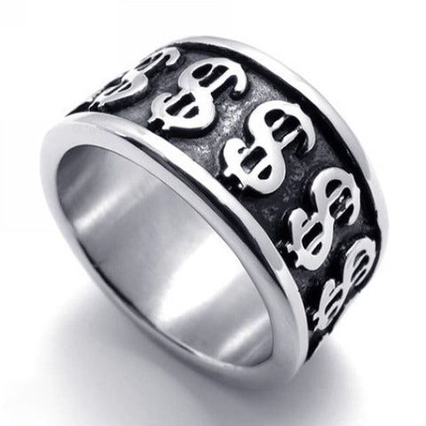 Titanium Steel Money Dollar Sign Ring for Men & Woman-Size 8