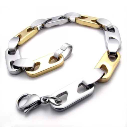 Titanium Steel Gold & Silver Colored Men's Bracelet Accessory