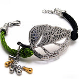 Braided Rope Strap Bracelet With Titanium Steel-Color White