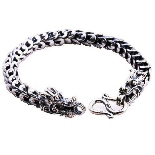 Braid Linked Thai Silver Guys Bracelet for Men's Exotic Jewelry