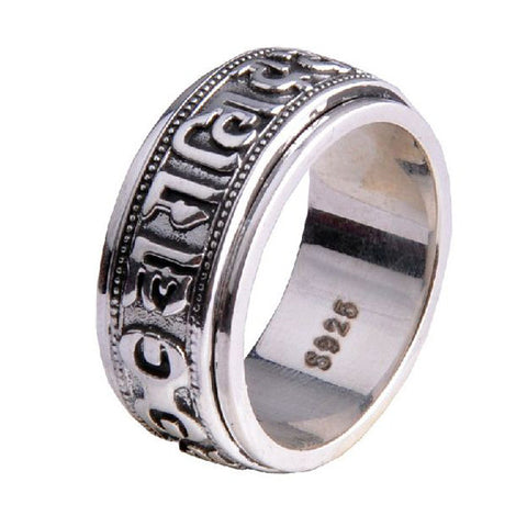 .925 Thailand Silver Mantra Transfer Ring Ethnic Jewelry