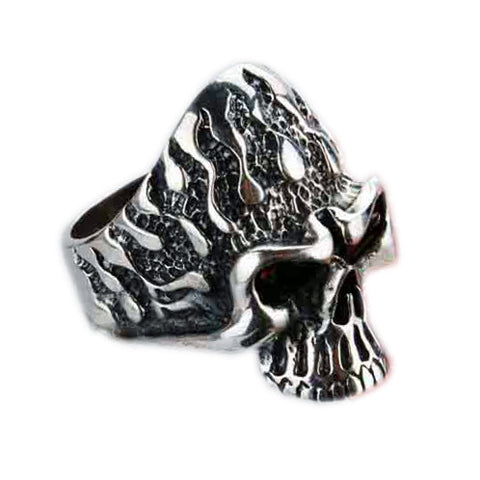 Flame Skull .925 Thai Silver Ring Red Corundum Natural Crystal-Size 8