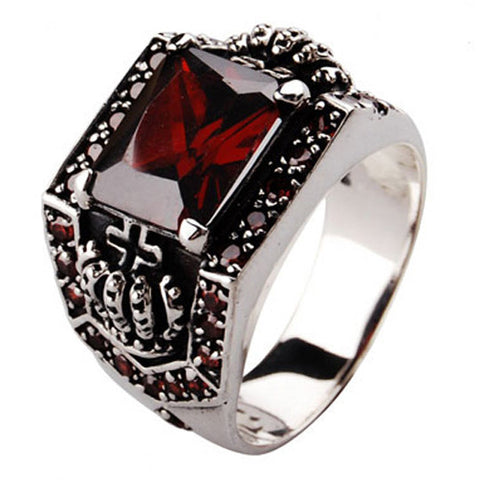 Royal Crown Palace Ring .925 Thai Silver with Red Zirconium Gemstone-Size 8