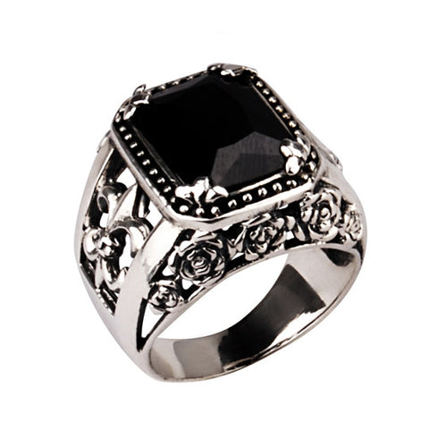 Natural Agate Black Stone Scout Men's Ring Black Onyx Thai .925 Silver