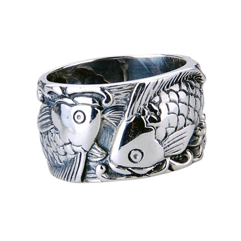 Wide Men's Ring Silver Materials Fashion Jewelry Fish Design Jewelers-Size 7