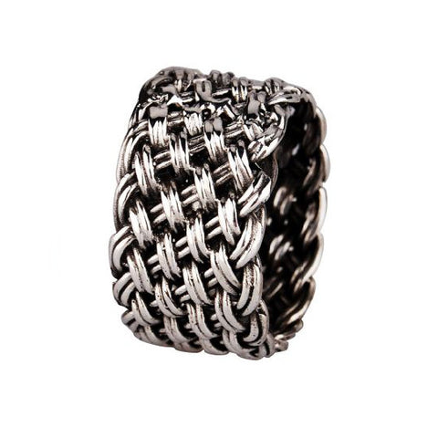 .925 Silver Woven Ring Weaved Design Fashion Jewelry for Men's Styles