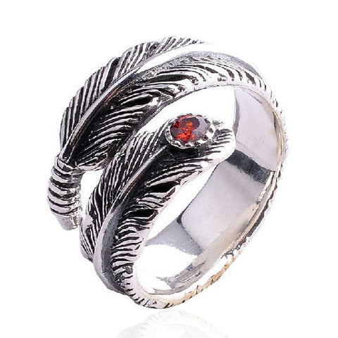 Garnet Gem Stone Feather Ring for Men's Cool Jewelry & Women's Styles Fashion