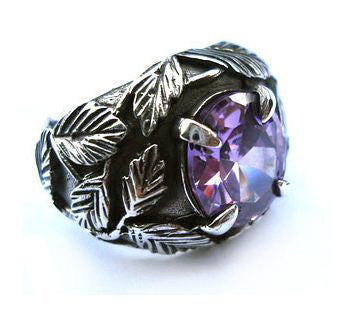 Amethyst Ring Natural Gem Stone Crystal on .925 Silver Jewelry for Fashion