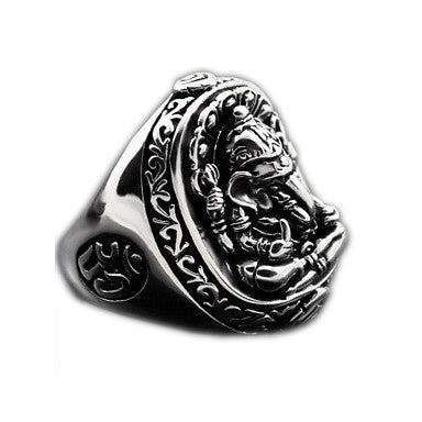 Elephant Trunk Fortuna God's Ethnic Jewelry Ring .925 Silver for Men
