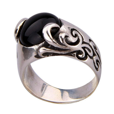 .925 Silver Thailand Standard Black Onyx Stone Handsome Ring for Men's Jewelry
