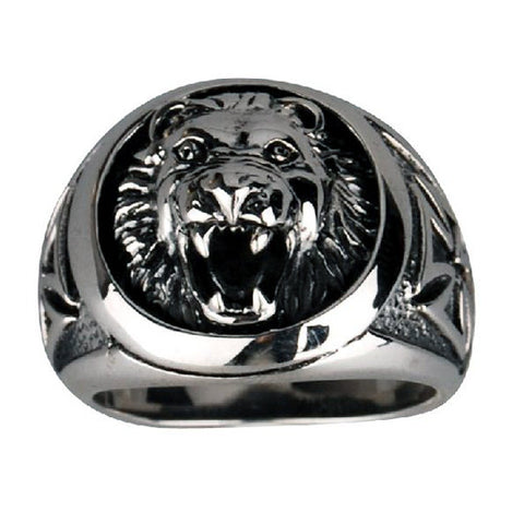 .925 Silver Lion Ring w/ Cross Accent Jewelry for Men's Fashion Design
