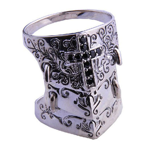 Holy Cross Knights Crusade Ring 3 Armored Design Men's Cool Jewelry .925 Silver