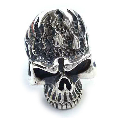 Flaming Skull Ring Large Head .925 Silver Men's Punk Jewelry Fashion