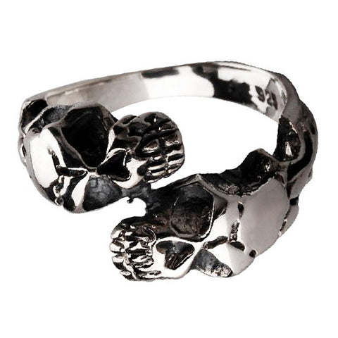Double Skull Ring Closed Design Jewelry for Gothic Men's Styles & Fashion