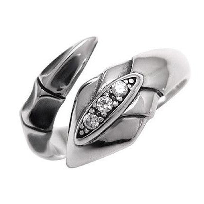 CZ Diamond Ring .925 Thai Silver Snake Designed Men's Cool Jewelry