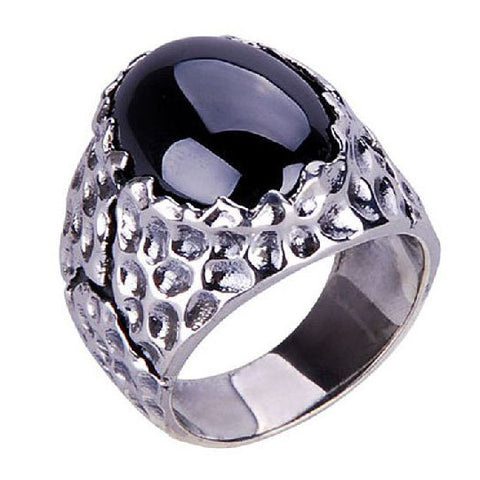Cracked Texture Ring Black Onyx Stone .925 Silver Ring for Jewelry Fine Men's