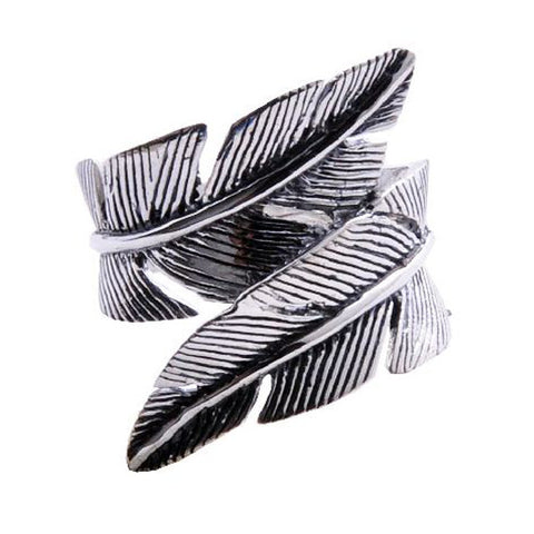 Angel Feathers .925 Silver Twisted Ring for Men's Fashion Jewelry Cool Jewelers