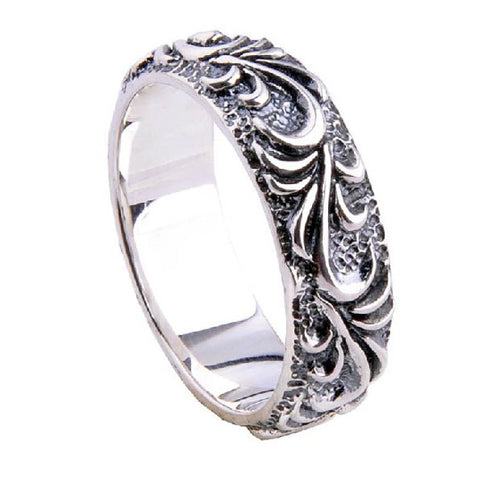 .925 Sterling Silver Ping Pattern Textured Men's Ring Fine Jewelry Fashion