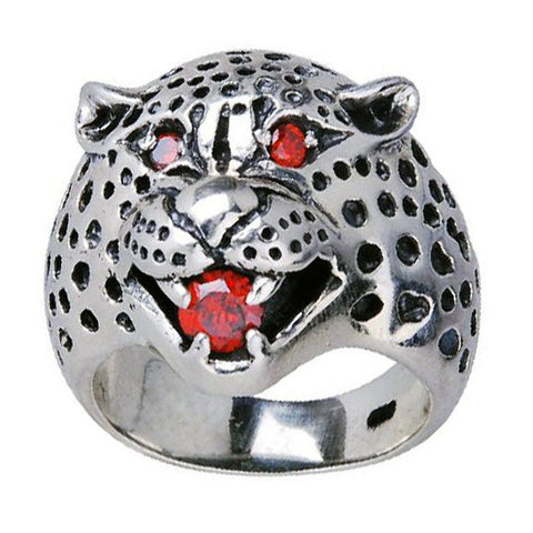 .925 Silver w/ Red Corundum Crystal Ring Leopard Style Jewelry for Men