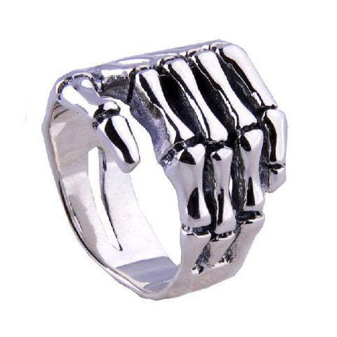 .925 Silver Punk Rock Jewelry Skeleton Hand Ring for Men's Fashion Apparel