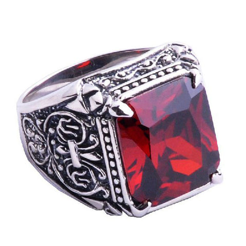 .925 Thai Silver Ring Ruby Gem Stone Crystal Jewelry for Men's Fashion