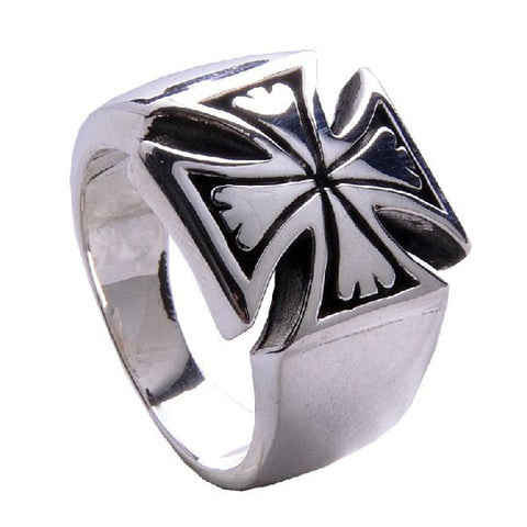 .925 Thai Silver Ring Iron Cross Designed Men's Fashion Jewelry