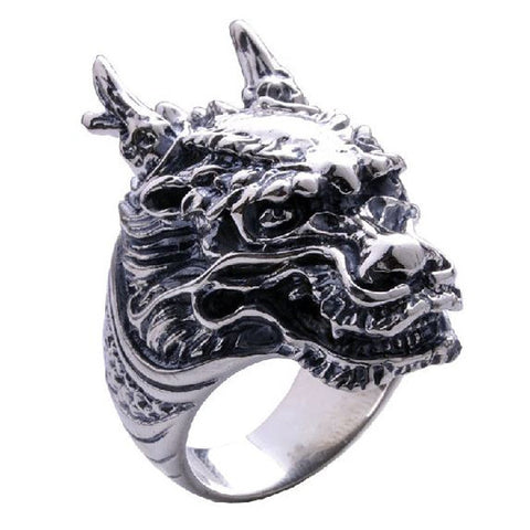 Demon Dragons Head on a Ring for Men's Fashion Jewelry Accessories