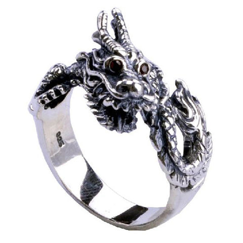 Chinese Zodiac Year of the Dragon Ring .925 Silver Cool Jewelry for Men