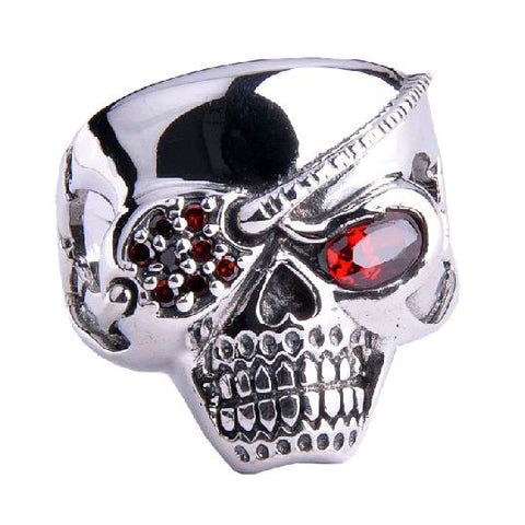Gothic Jewelry for Men Pirate Skull Ring Made of .925 Silver