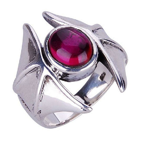 Inlaid Gemstone Punk Rock Ring Silver Gothic Jewelry for Men's Fashion