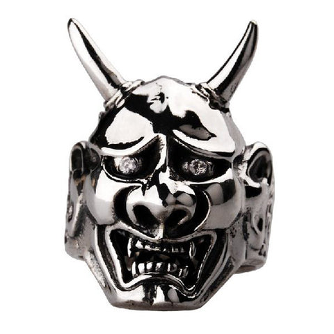 Horned Demon Head Ring for Men's Fashion Jewelry Accessories