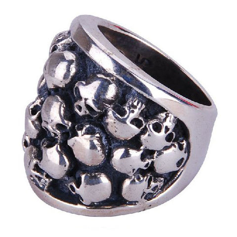 Guys Jewelry Made of Silver Multiple Skull Head Ring for Men Fashion