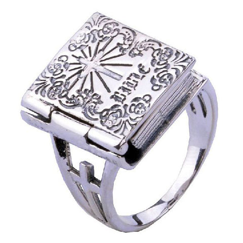 .925 Standard Thai Silver Bible Cross Ring for Men & Guys Jewelry