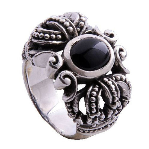 Black Agate Onyx Crown Royal Ring for Men's Fashion Jewelry