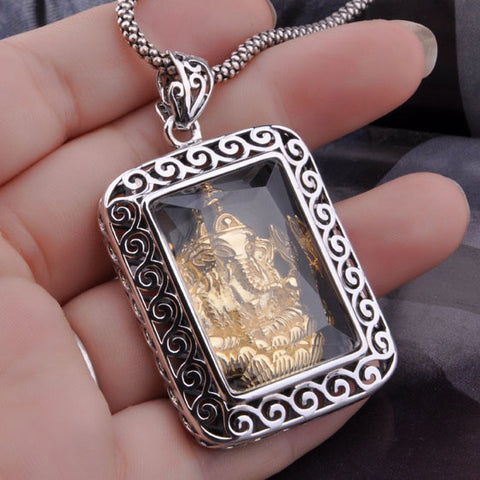 Square Jewelry for Men Golden Pendant Elephant Gold Crystal Silver (w/ NECKLACE)