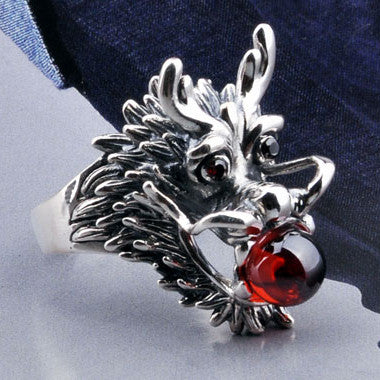 .925 International Standard Silver Jewelry Dragon Ring for Men Inlaid Red Zirconium Diamond-Size 8