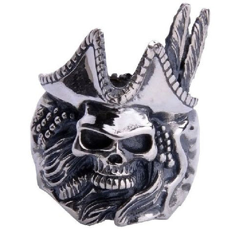 .925 Standard Silver one Piece Feathered Pirate Captain Ring for Men