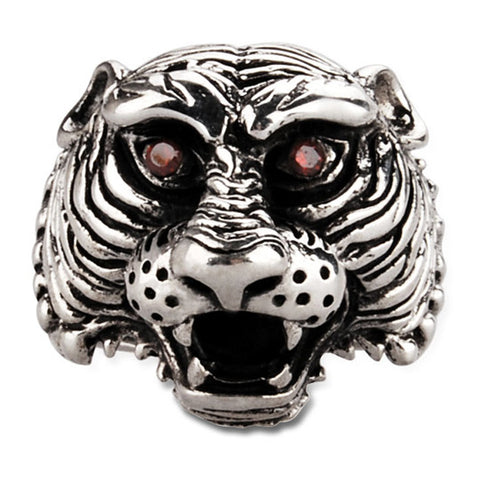 Gemstone Inlaid Thai Silver Red Eyed Tiger Ring for Men's Cool Jewelry